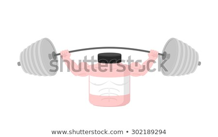 Pink Container sports nutrition  Press Overhead barbell. Vector  Stock photo © popaukropa