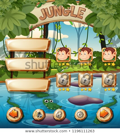 Foto stock: Macaco · selva · jogo · modelo · ilustração · crianças