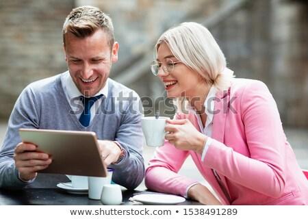 przystojny · biznesmen · okulary · szmata · szary · twarz - zdjęcia stock © feedough