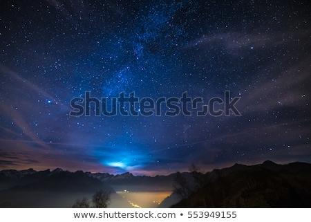 Karácsony tájkép csillagos ég éjszaka csillagok fából készült Stock fotó © Kotenko