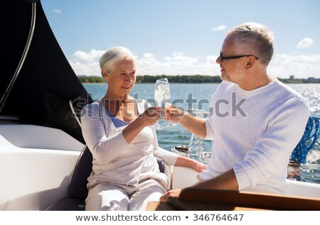 Senior couple toasting with glasses Stock photo © IS2