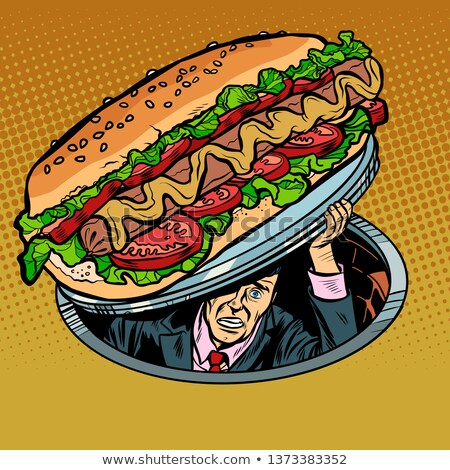 Hot dog salsiccia insalata uomo fast food pop art Foto d'archivio © studiostoks