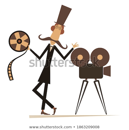 Stock photo: Retro Cameraman Flat Cartoon Character