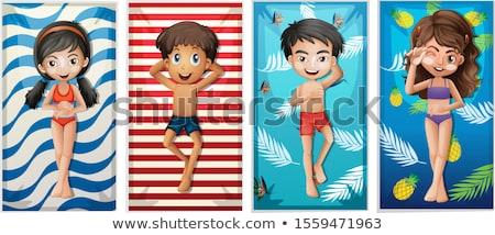 Stock photo: Cute Boy on Beach Towel
