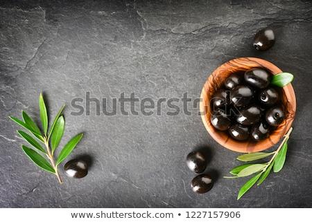 Puchar czarne oliwki świeże zioła żywności drewna Zdjęcia stock © mpessaris