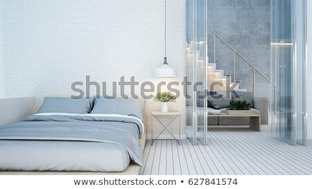 modernes · chambre · table · côté · oreillers · lit - photo stock © dashapetrenko