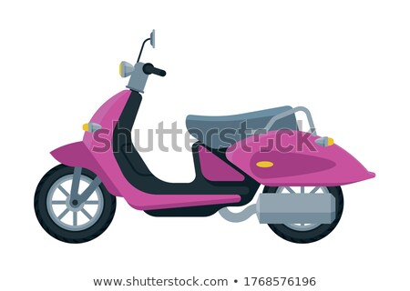 Vector pink retro scooter, flat style side view. Stock photo © MarySan