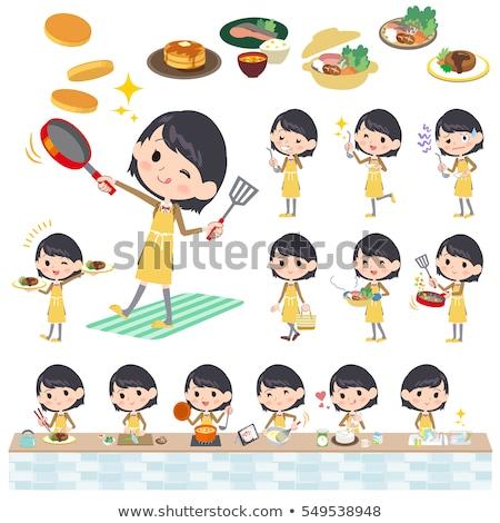 school girl Brown Blazer cooking Stock photo © toyotoyo
