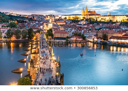 Prague castle and the Charles bridge at dusk,Czech Republic Stock photo © asturianu