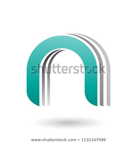 Zöld réteges ikon n betű vektor illusztráció Stock fotó © cidepix