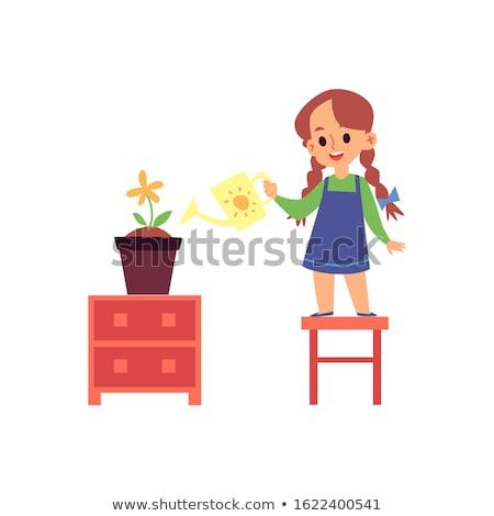 kertészkedés · lány · illusztráció · hordoz · anyagok · kert - stock fotó © pikepicture