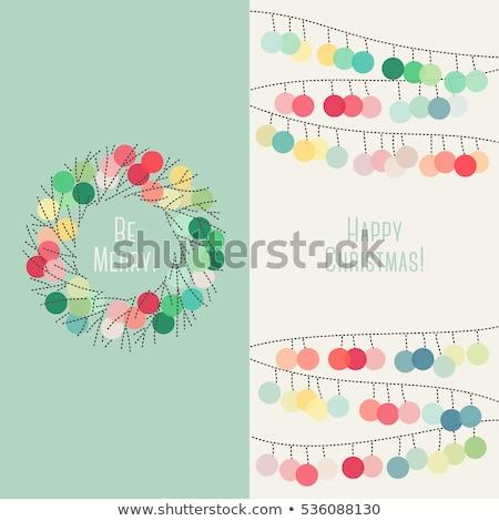 Elegant Christmas card with pastel colored pom pom garland Stock photo © isveta