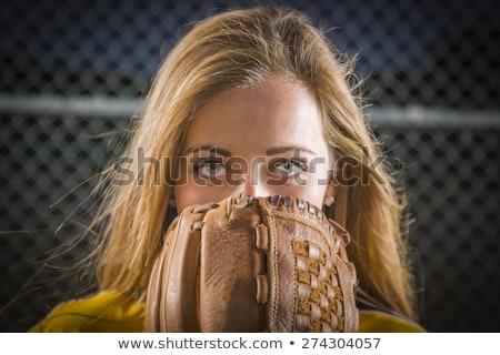 Glimlachend softbal speler cartoon illustratie vrouwen Stockfoto © cthoman
