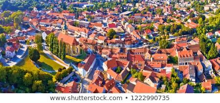stadsgezicht · heuvels · luchtfoto · noordelijk · Kroatië · zon - stockfoto © xbrchx
