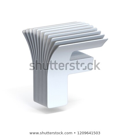 Curved paper sheets Letter F 3D Stock photo © djmilic