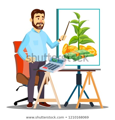 calculation of budget businessman with calculator and flip chart vector isolated illustration stock photo © pikepicture