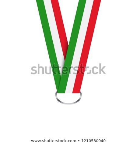 итальянский лента медаль триколор простой изолированный Сток-фото © kurkalukas