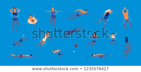 Swimming Pool and People Set Vector Illustration Stock photo © robuart