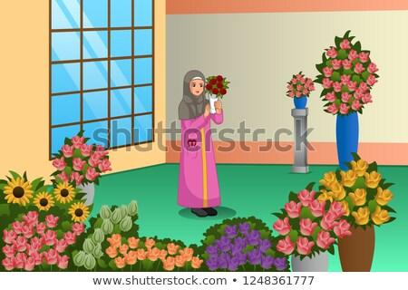 Musulmanes florista de trabajo tienda ilustración negocios Foto stock © artisticco