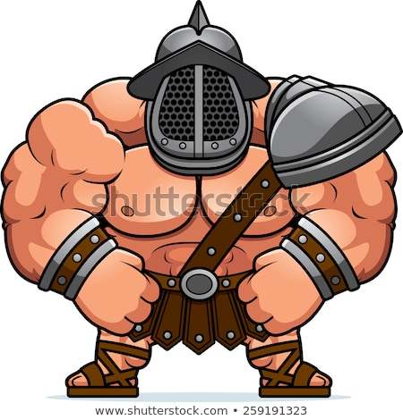Cartoon gladiator illustration musculaire hommes guerrier Photo stock © cthoman