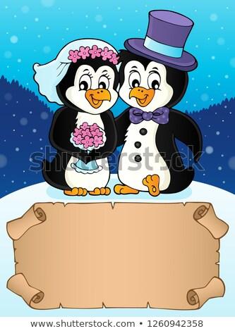 Küçük parşömen penguen düğün çiçek kâğıt Stok fotoğraf © clairev