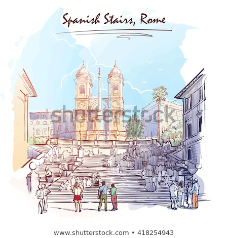 испанский · лестницы · Церкви · Рим · Восход · облака - Сток-фото © givaga