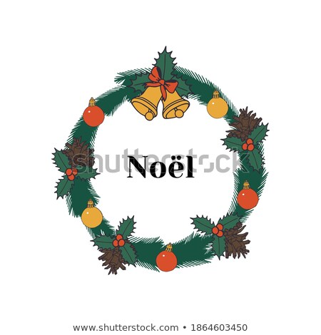 Red Christmas wreath ornament banner in french Stock photo © cienpies
