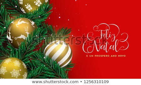 Red Christmas tree bauble banner in portuguese Stock photo © cienpies