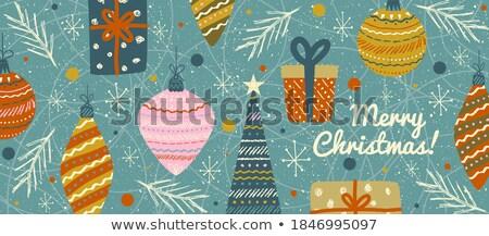 陽気な · セット · かわいい · レトロな · サンタクロース - ストックフォト © cienpies