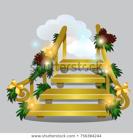 The golden stair leading into the snow clouds isolated on grey background. Sketch for greeting card, Stock photo © Lady-Luck