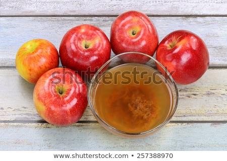 çanak elma elma şarabı sirke elma ahşap Stok fotoğraf © madeleine_steinbach