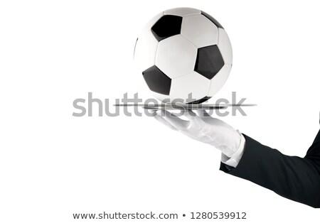 Pincér tálca futballabda első osztály szolgáltatás futball Stock fotó © alphaspirit
