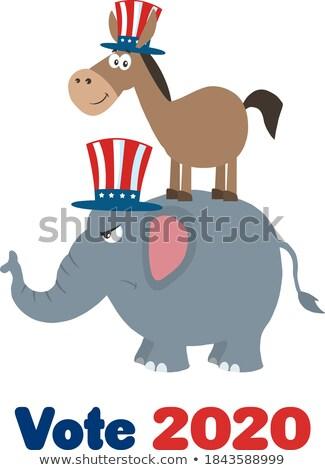 笑みを浮かべて · ロバ · 民主党 · 怒っ · 象 · 共和党の - ストックフォト © hittoon