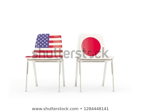Dois cadeiras bandeiras Japão isolado branco Foto stock © MikhailMishchenko