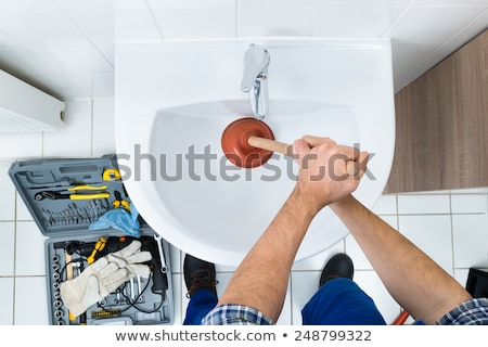 plombier · évier · Homme · acier · inoxydable · cuisine · maison - photo stock © andreypopov