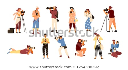 Paparazzi taking photo with modern digital camera vector illustration. Stock photo © RAStudio