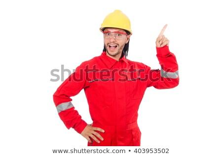 Photo stock: Plombier · rouge · uniforme · illustration · travaux · fond