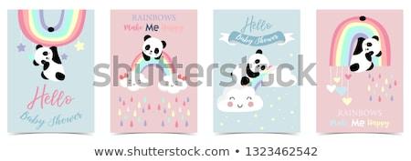 Panda regenboog illustratie slapen bloemen natuur Stockfoto © colematt
