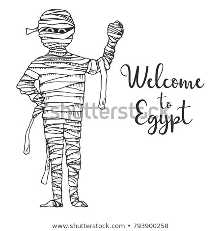sketch cartoon mummy vector illustration text welcome to egypt stock photo © arkadivna