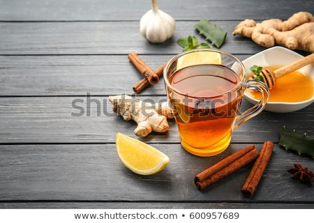 Lemon, ginger and honey. Natural cough and flu remedies.  Stock photo © furmanphoto