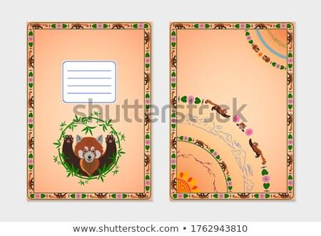 Sketch of a cartoon panda. Text welcome to China Stock photo © Arkadivna
