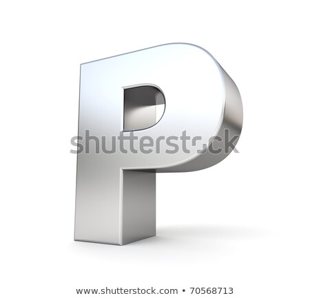 chrome font with colorful reflections letter p 3d stock photo © djmilic
