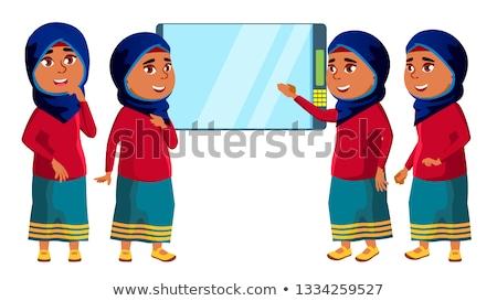 Árabe · muçulmano · menina · criança · vetor · escola · secundária - foto stock © pikepicture