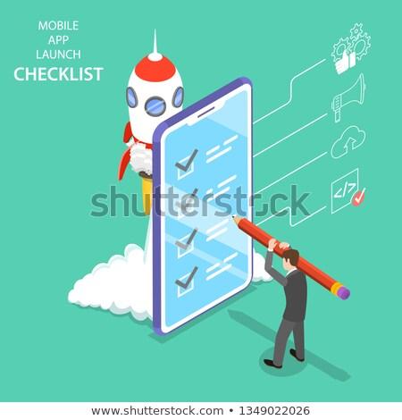 Isometrische vector mobiele app Stockfoto © TarikVision