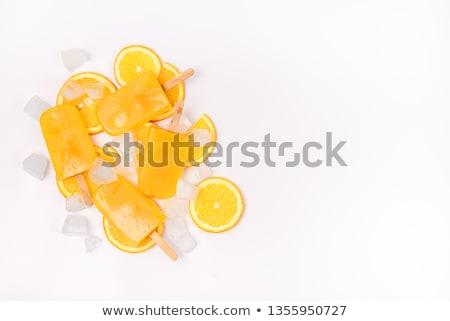 sorbet · oranje · aardbei · witte · kommen · voedsel - stockfoto © barbaraneveu