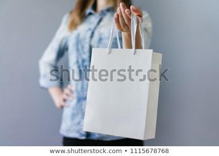 Kép nő tart csomagok kéz szépség Stock fotó © deandrobot