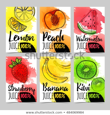 Strawberry and kiwi on green background. Watercolor illustration Stock photo © ConceptCafe