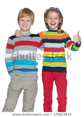 Cute sister Little Girl with redhead in studio white background stock foto © Lopolo