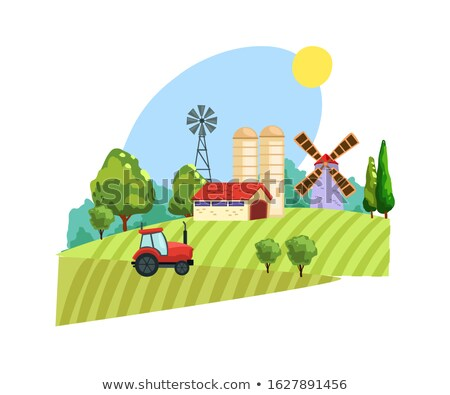 windmill country farm scenery farm scene organic products label flat vector illustration stock photo © makyzz