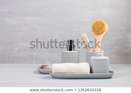 Karikatur · home · Waschraum · Seife · isoliert · weiß - stock foto © jossdiim